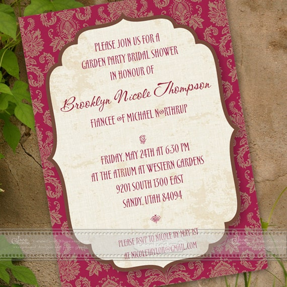 bridal shower invitations, ruby red bridal shower invitations, wedding shower invitations, cranberry wedding shower invitations, IN168
