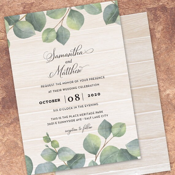 wedding invitations, eucalyptus wedding invitations, greenery wedding invitations, botanical wedding invitations, foliage wedding, IN700