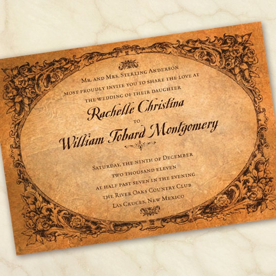 wedding invitations, wedding invitations and rsvp, wedding package, vintage wedding invitations, old world wedding invitations, IN109