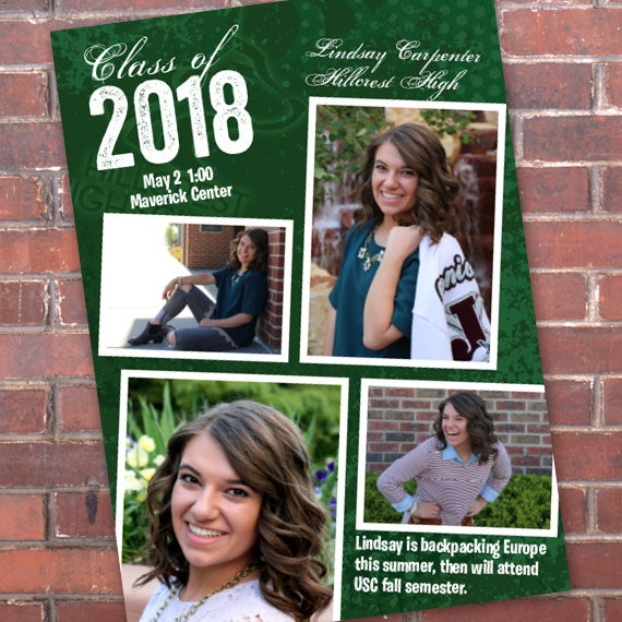 graduation invitations, green graduation invitations, college graduation announcements, doctorate graduation, graduation photo, IN645