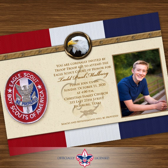 Eagle Scout court of honor invitation, single sided invitation, Boy Scouts of America invitation, Court of Honor, BSA0401