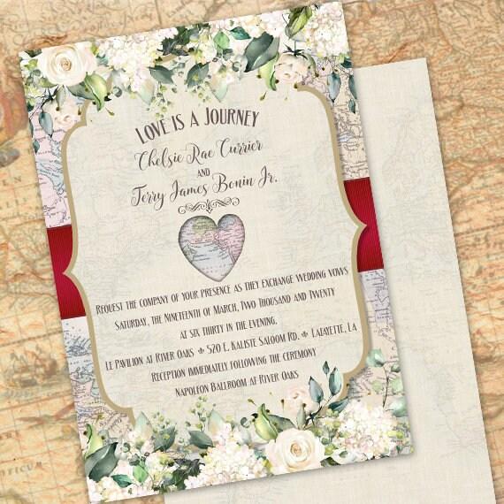 wedding invitations, white rose wedding invitations, love is a journey invitations, map invitations, travel wedding invitations, IN704