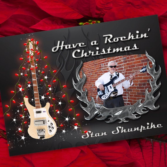 Christmas cards, Rockin' Christmas card, electric bass guitar Christmas card, chrome Christmas, bass guitar Christmas, CC045