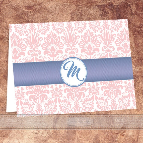 thank you cards, rose quartz thank you cards, monogram thank you cards, rose quartz thank you cards, monogram notecards, PS126