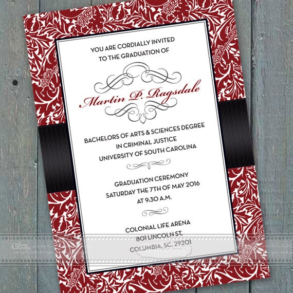 graduation invitations, crimson graduation invitations, red graduation invitations, crimson college graduation, grad party invitations IN463