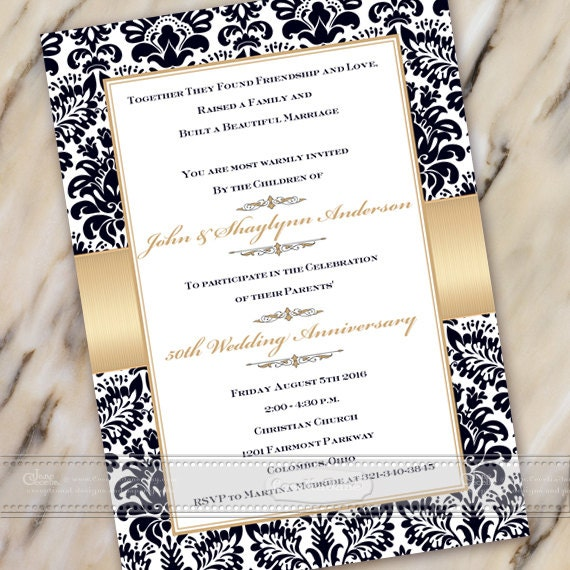 50th wedding anniversary invitation, 60th wedding anniversary, golden anniversary invitation, anniversary party invitation, IN494