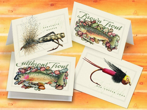 fly fishing notecards, trout notecards, fishing notecards, fly fisherman birthday, fisherman gift, fly fisherman retirement, fly fishing