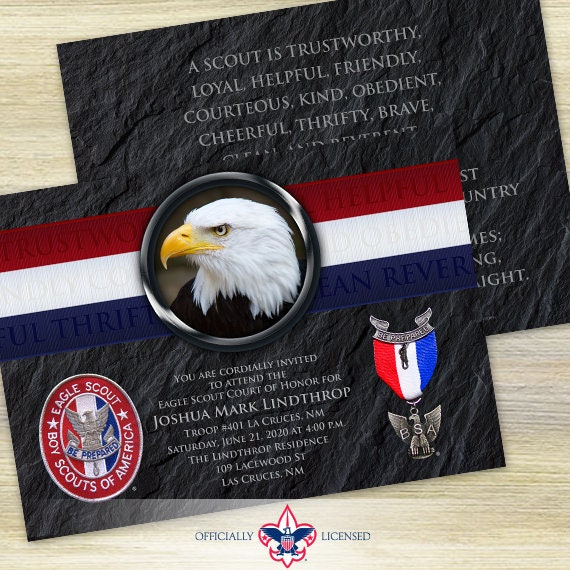 Eagle Scout Court of Honor invitation, double sided invitation, Boy Scouts of America invitation, BSA invitation, BSA0501