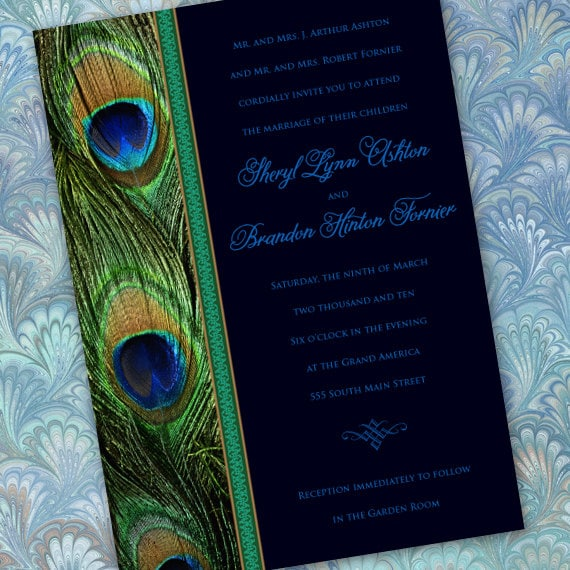 wedding invitations, bridal shower invitations, peacock party invitation, peacock bridal shower, wedding package, IN265