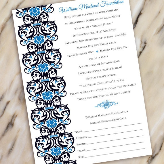 wedding invitations, fundraising gala invitation, black tie event, fundraiser invitation, silent auction invitation, IN503