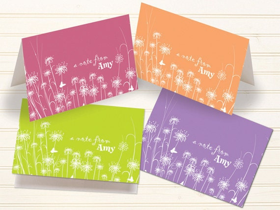 thank you cards, personalized notecards, tangerine notecards, pink thank you cards, floral personalized notecards, floral stationery, PC112