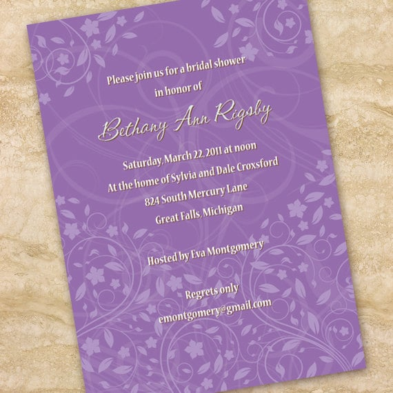 bridal shower invitations, lavendar bridal shower invitations, hyacinth wedding invitations, purple wedding invitations, hyacinth retirement