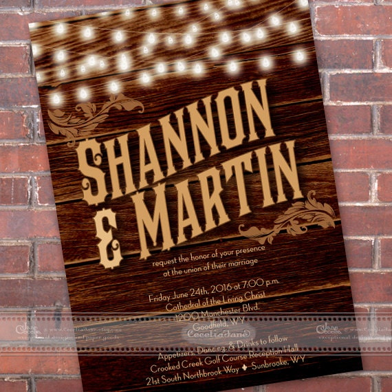 wedding invitations, western wedding, barnwood wedding invitations, outdoor wedding, string lights, wedding package, IN460