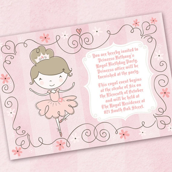 ballerina birthday party, princess birthday party, pinkalicious birthday invitation, pink ballerina invitation, ballet recital