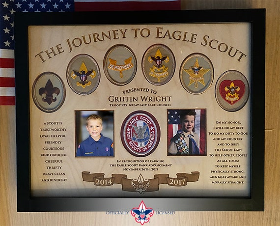 Journey to Eagle Plaque, 11x14 wood plaque, Eagle Scout patches, Customized, Eagle Scout, Court of Honor, BSA1405