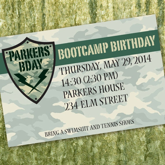 bootcamp, birthday party invitations, ranger graduation invitations, army birthday party, camouflage birthday party invitations, IN324