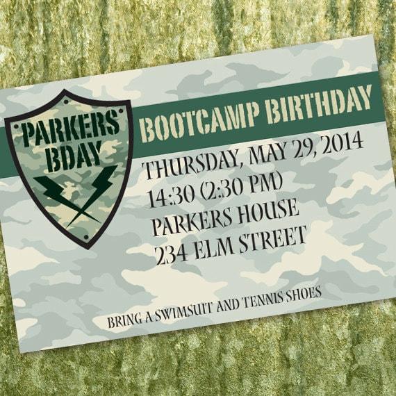bootcamp, birthday party invitations, ranger graduation invitations, army birthday party, camouflage birthday party invitations, IN324