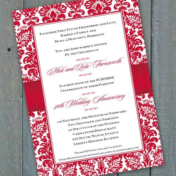 anniversary invitations, 40th anniversary party invitations, golden anniversary party, 50th anniversary invitations, anniversary party IN465