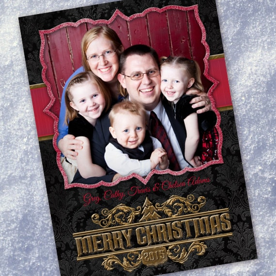 Christmas cards, black damask and gold Christmas card, black and red Christmas card, black and cranberry holiday card, CC086