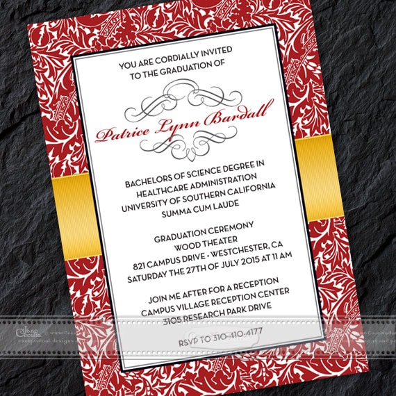 graduation invitations, crimson graduation invitations, gold graduation invitations, USC graduation, bridal shower invitations, IN381