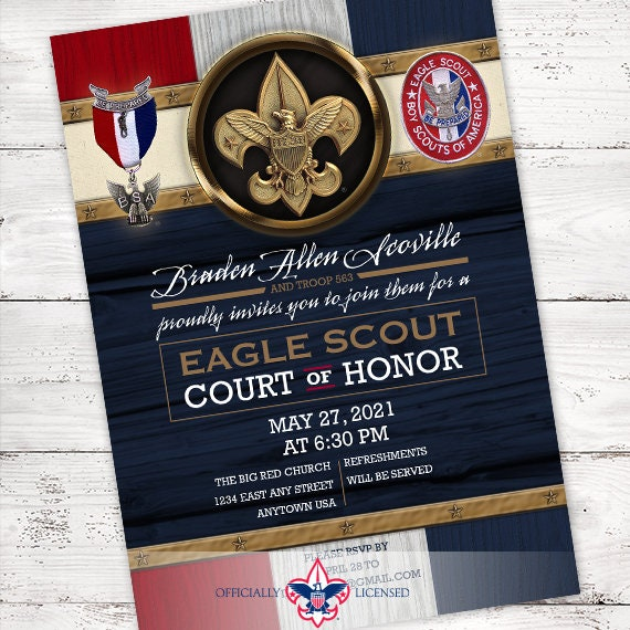 Eagle Scout court of honor invitation, single sided invitation, Boy Scouts of America invitation, Court of Honor, BSA0901
