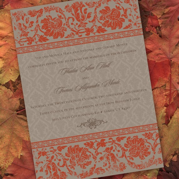 wedding invitations, bridal shower invitations, pumpkin wedding invitations, pumpkin bridal shower invitations, wedding package, IN221.2