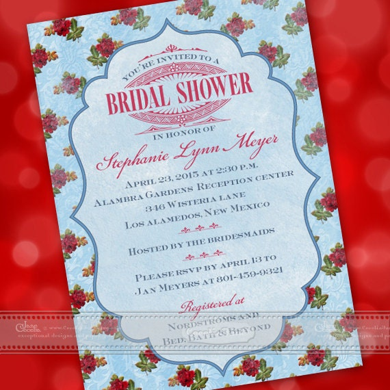 bridal shower invitations, bridal shower package, vintage bridal shower invitations, inexpensive bridal shower invitations, IN412