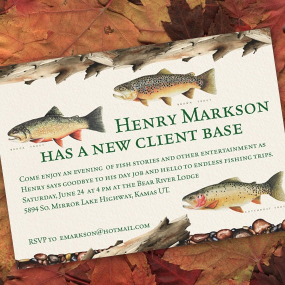 retirement party invitations, fishing retirement party, surprise retirement party, fly fishing birthday party invitations, IN144