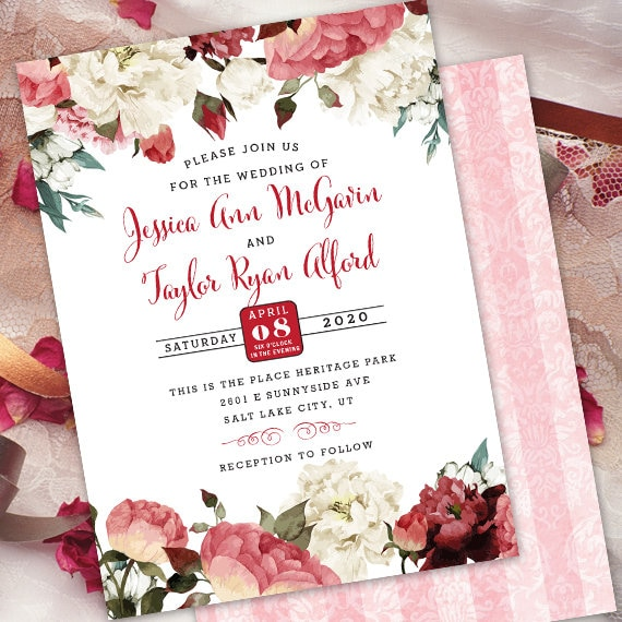 wedding invitations, marsala wedding invitations, rose invitations, blush rose wedding invitations, burgundy blush floral invitations, IN702