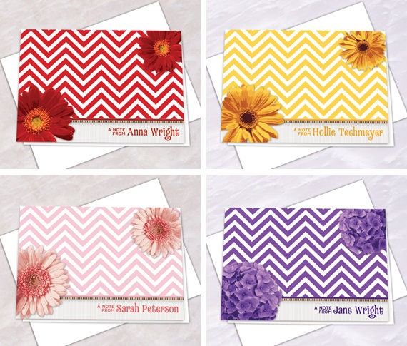 personalized notecards, thank you cards, chevron thank you cards, graduation thank you cards, bridal shower thank you cards, NC154set