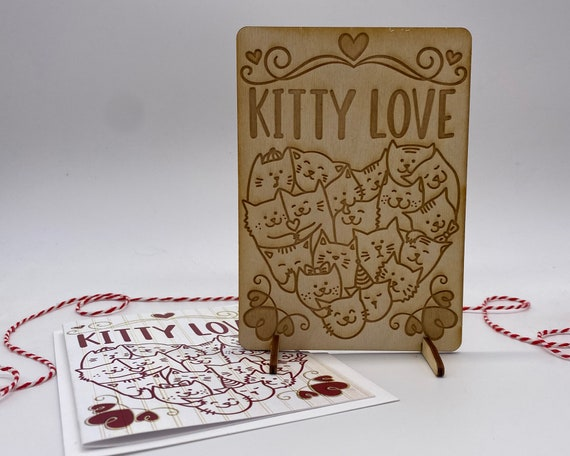 wood card, laser engraved card, Valentines Day card, I love you, must love cats, cat lover, kitty love, Happy Valentines, PCS050