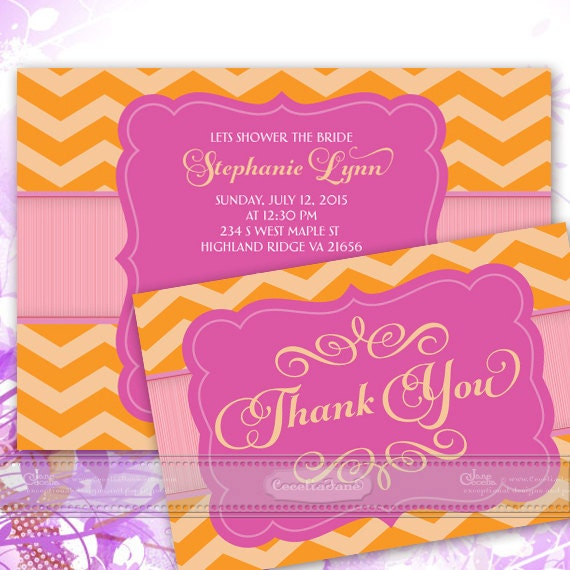bridal shower invitations, bridal shower thank you cards, bridal shower package, bachelorette party invitations, hot pink invitations, IN354