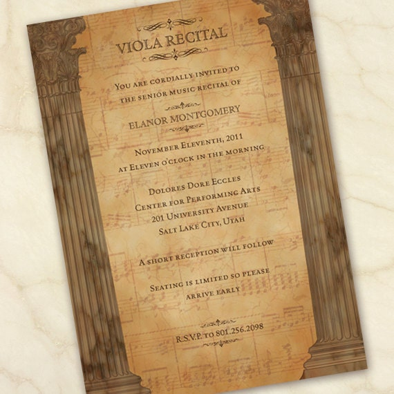 graduation recital invitations, viola recital, piano recital, music department recital invitation, voice recital invitation, senior recital