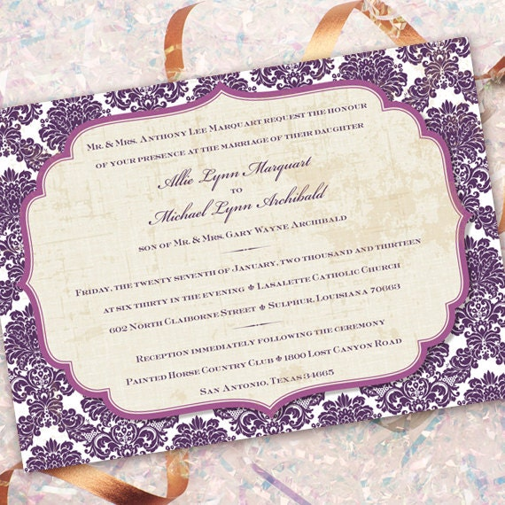 wedding invitations, plum wedding invitations, purple wedding invitations, bridal shower invitations, wedding package,