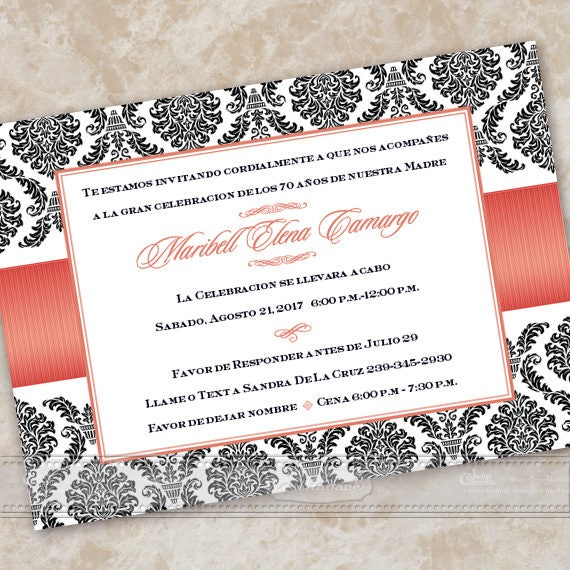 bridal shower invitations, Spanish bridal shower invitations, Spanish wedding shower invitations, poppy birthday party, IN609