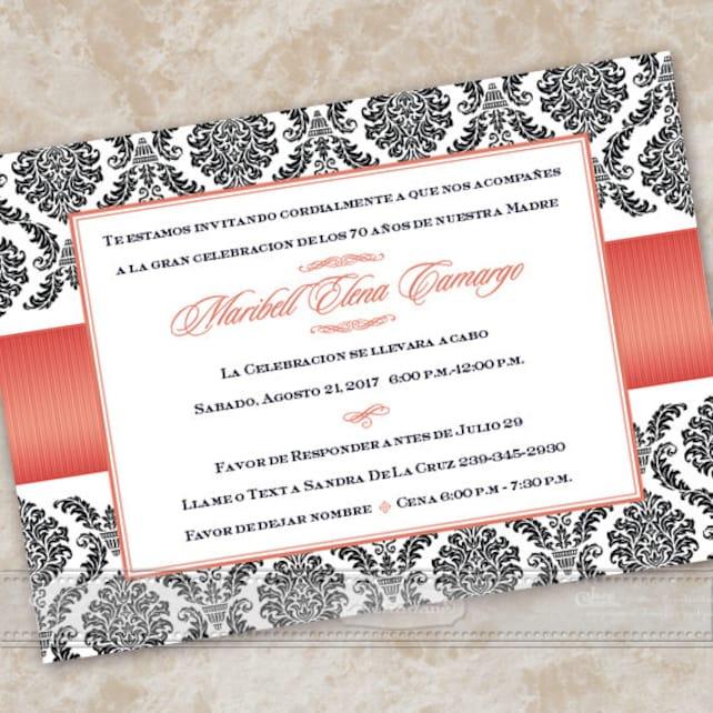 Bridal Shower Invitations Spanish Wedding Poppy Birthday Party IN609