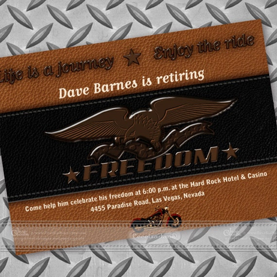 retirement party invitations, freedom motorcycle retirement invitation, Harley Davidson birthday party, military retirement party, IN118