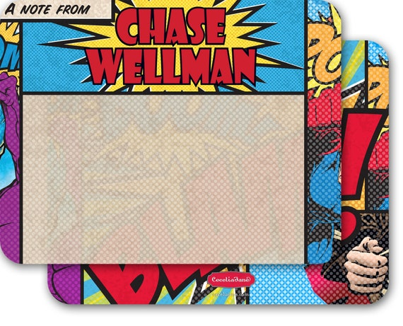 personalized notecards, notecard set, thank you cards, super hero stationery, superhero notecards, teacher appreciation, hero gift, NS173