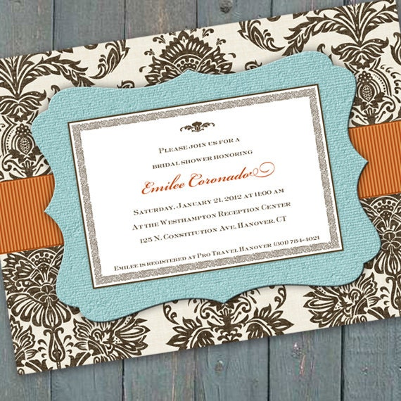 bridal shower invitations, aqua bridal shower invitations, baby shower invitations, aqua chocolate bridal shower invitations