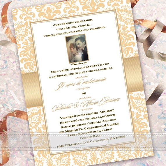 50th wedding anniversary invitation, Spanish anniversary invitation, aniversario Espanol, anniversary party, golden anniversary, IN613