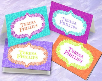 thank you cards, personalized notecards, personalized stationery, tangerine notecards, turquoise notecards, hot pink thank you cards, PC105