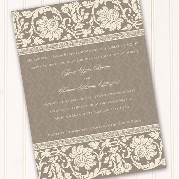 wedding invitations, bridal shower invitations, smoky gray wedding invitation, retirement party, wedding package, IN154