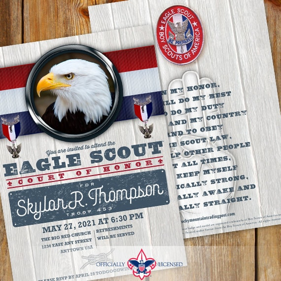 Eagle Scout court of honor invitations, double sided invitations, Court of Honor invitation, BSA invitations, BSA0701