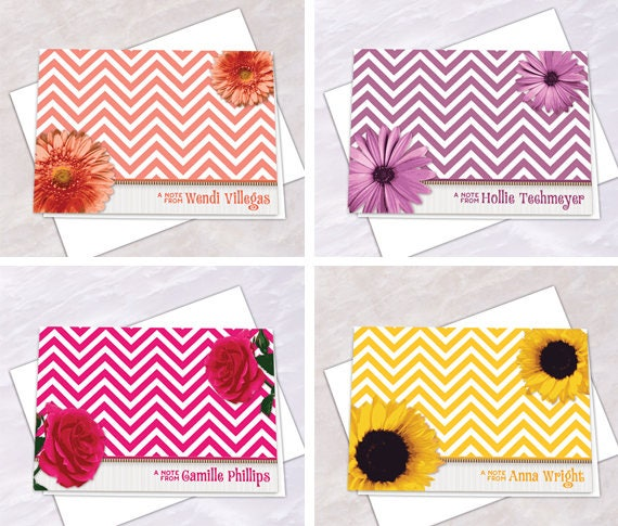 personalized notecards, thank you cards, chevron thank you cards, graduation thank you cards, bridal shower thank you cards, NC151set