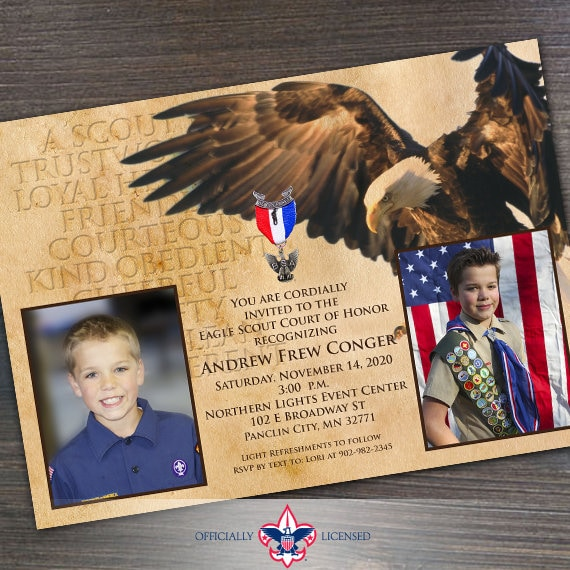 Eagle Scout court of honor invitation, single sided invitation, Boy Scouts of America invitation, Court of Honor, BSA0201