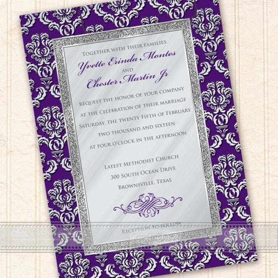 wedding invitations, royal purple wedding invitations, wedding invitations, silver wedding package, eggplant bridal shower, IN624