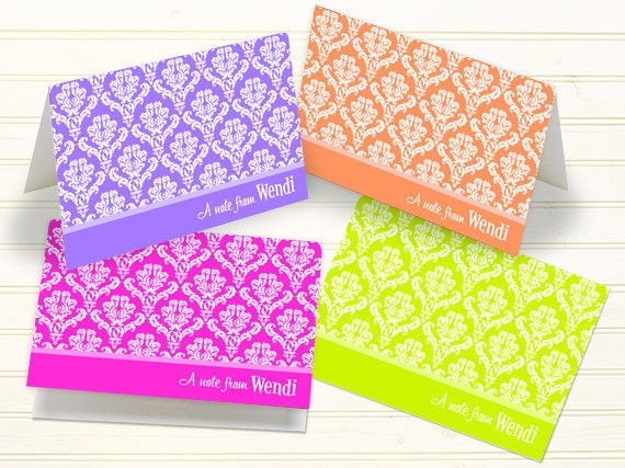 personalized notecards, thank you cards, personalized thank you cards, thank you cards, hot pink notecards, lavender notecards, PC122