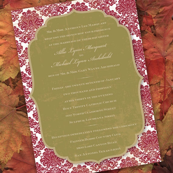 wedding invitations, bridal shower invitations, avocado and cranberry wedding, sage and cranberry bride, wedding package, IN167