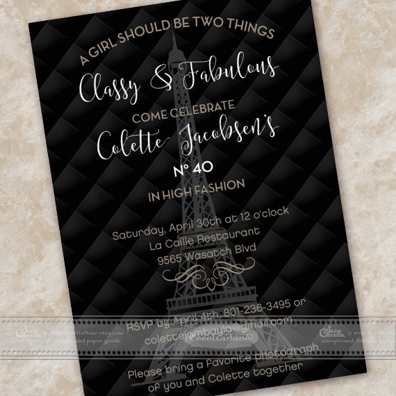 birthday party invitations, 40th birthday party invitations, elegant birthday invitations, classy birthday invitations, IN488