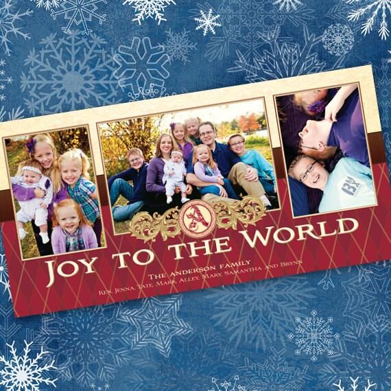 Christmas cards, argyle Christmas card, Joy to the World Christmas card, red and cream holiday card, argyle holiday card, CC029B